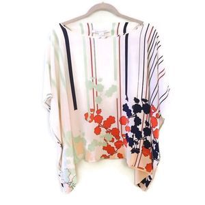 DVF New Hanky Floral Striped printed caftan blouse